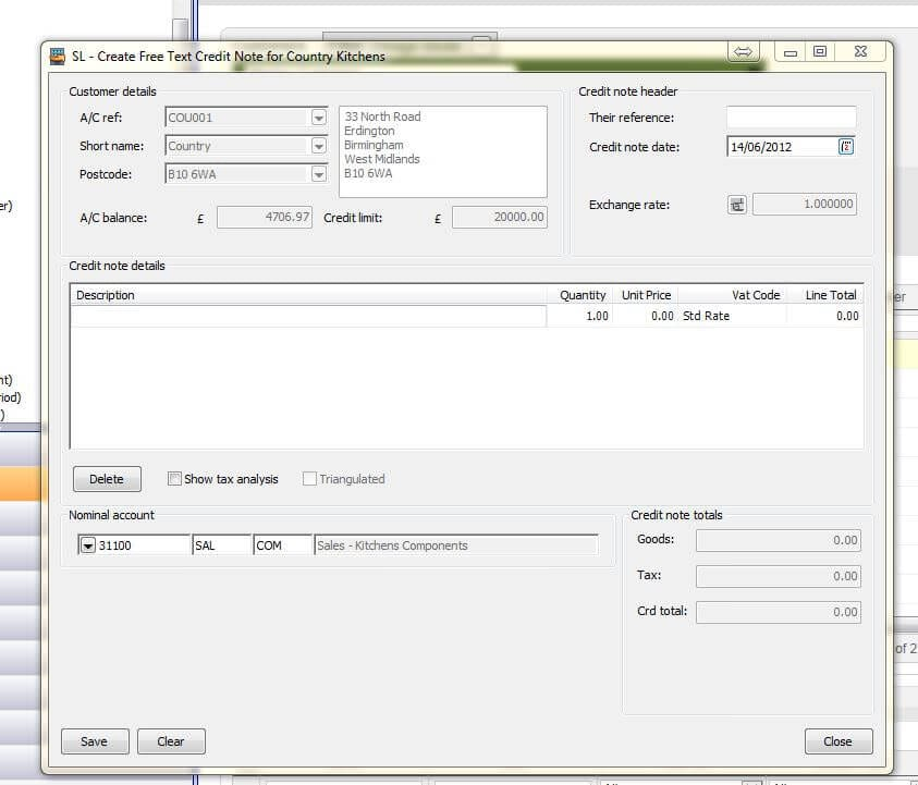Free Text Credit Note in sage 200 2013