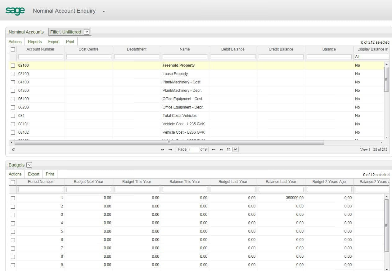 Screenshot of workspaces in Sage 200 2013