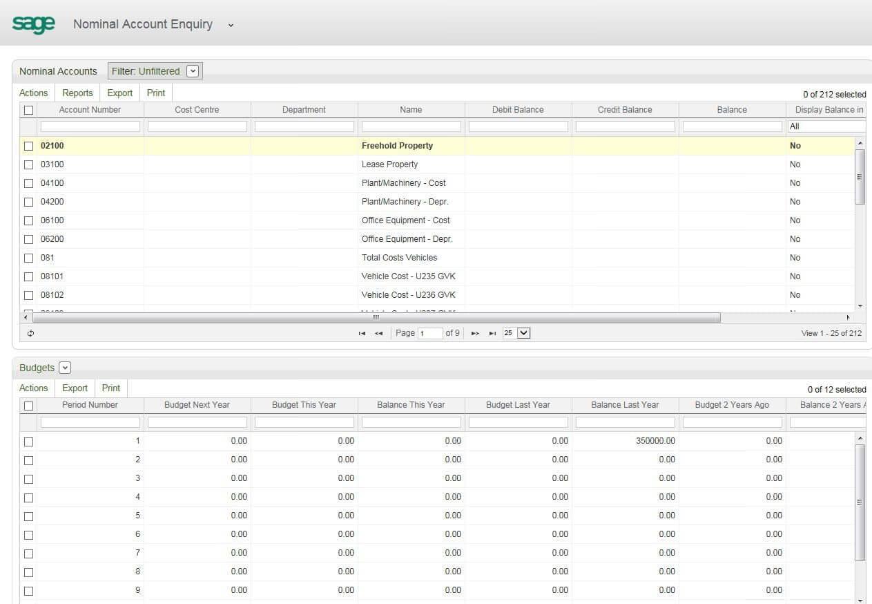 Screenshot of workspaces in Sage 200 2013