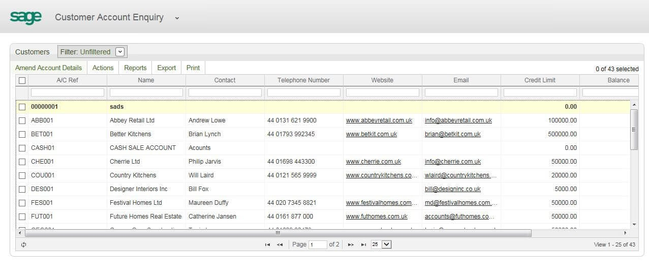 screenshot module workspaces in sage 200 2013