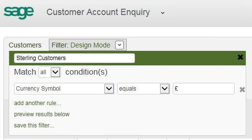 screenshot of adding filters in sage 200 2013