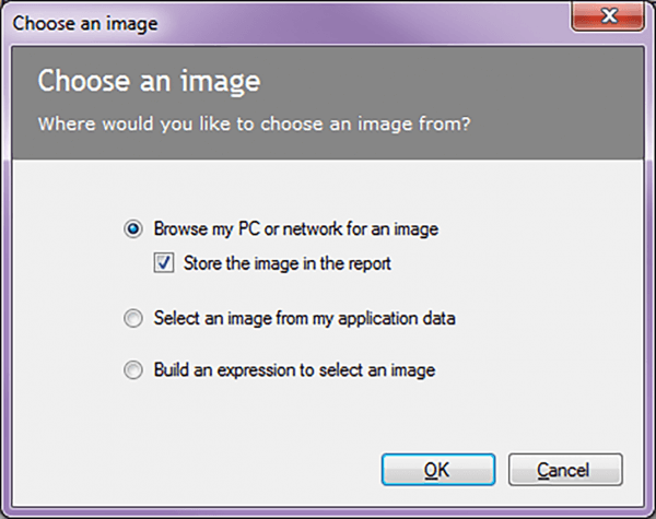 choose image report designer