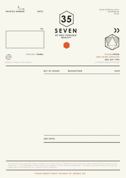 Creative invoice layouts Three Five Seven