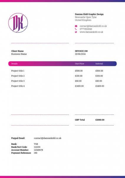 Creative invoice layout Damian Kidd
