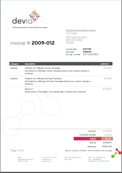 Creative invoice layouts Devia