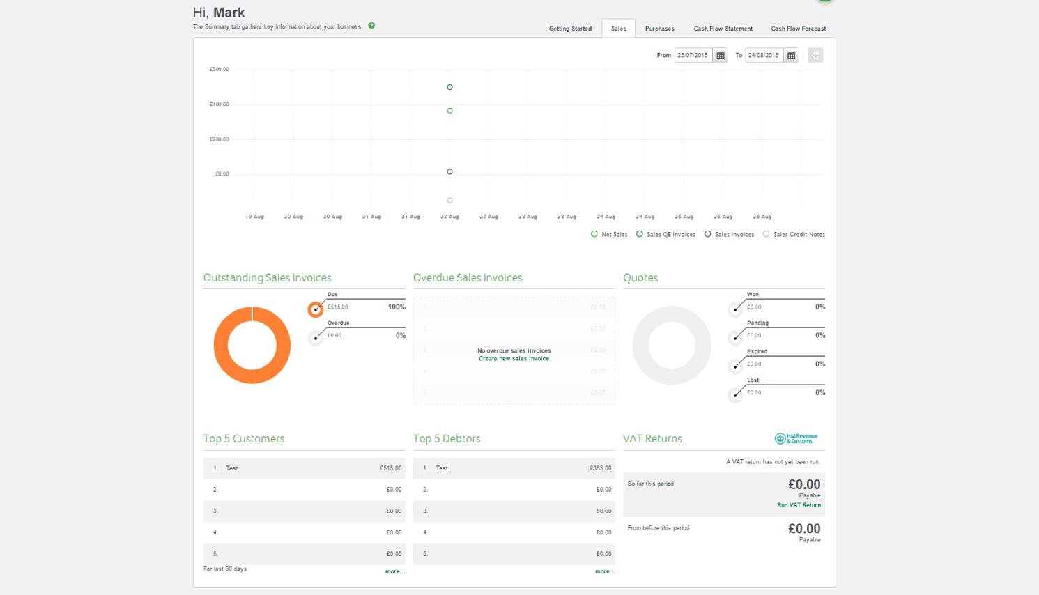 Sage One Cashbook Screenshot