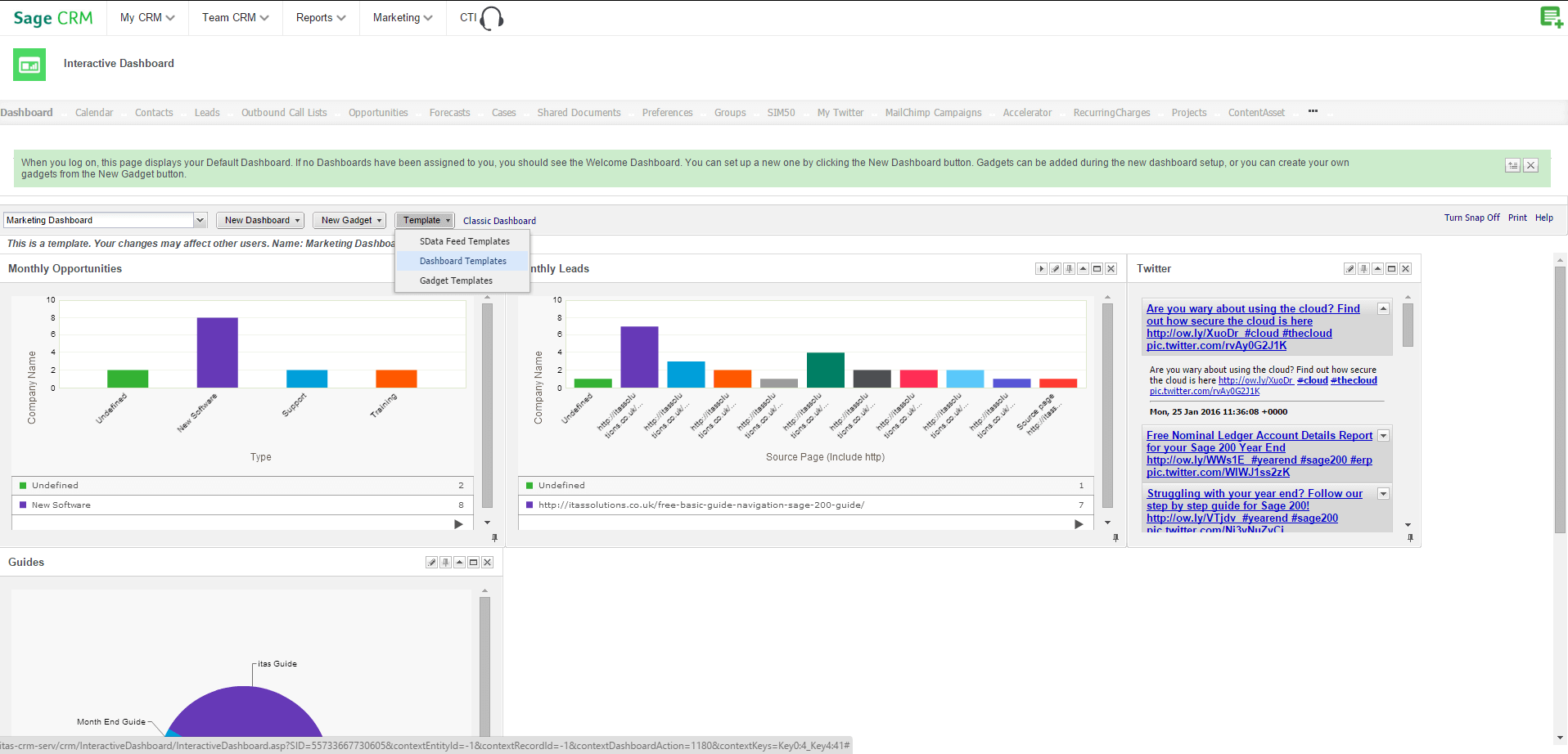dashboard templates CRM