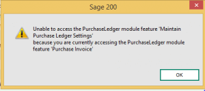 Disconnected Log on error message sage 200 version 2015