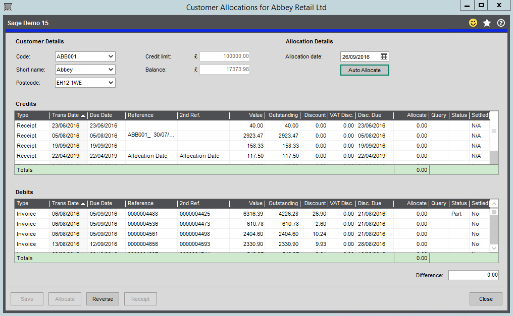 Allocation Form in the Sales Ledger - Sage 200 Summer 2019