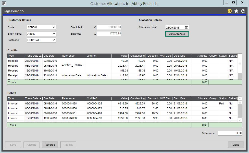 Allocation Form in the Sales Ledger - Sage 200 Summer 2019