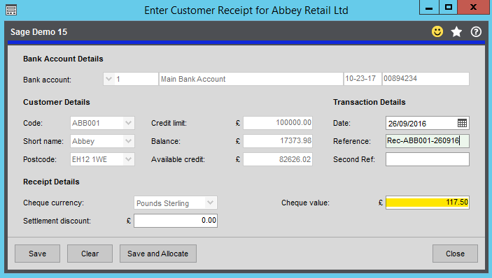 Sales Receipt Form - Sage 200 Summer 2019