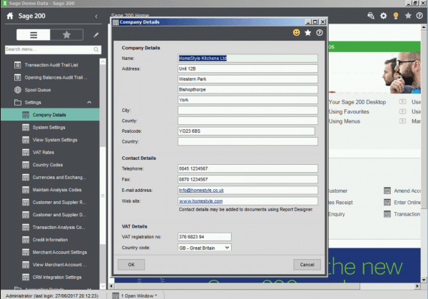 Setting up the Control Settings for a New Company in Sage 200 - Sage UK