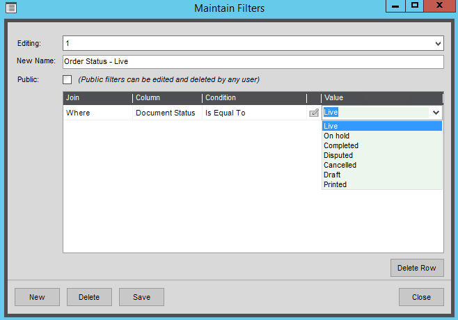 List View Filter Example for SOP Document Status - Sage 200 Summer 2019