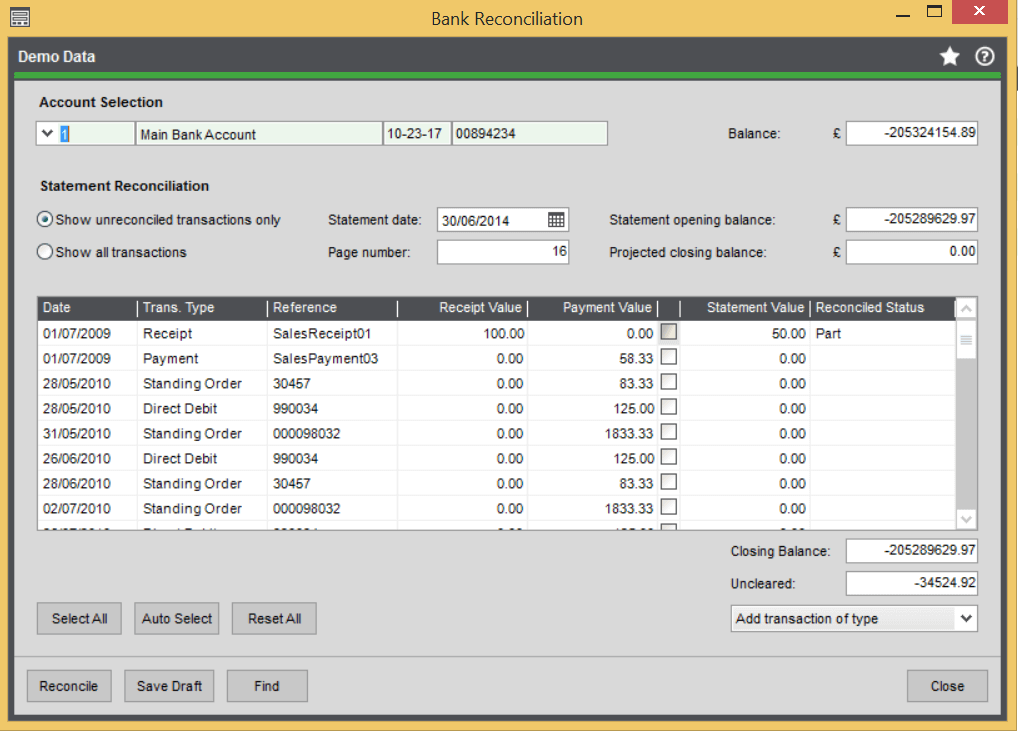 Bank Reconciliation - Part Reconciled