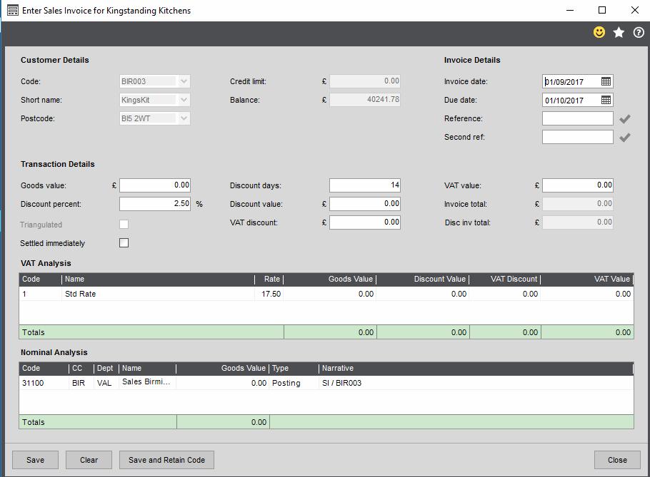 Sage 200c Invoice Form
