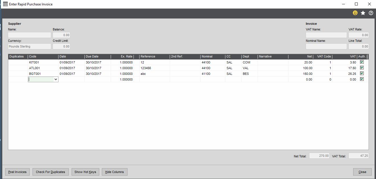 Sage 200c Rapid Invoice Form
