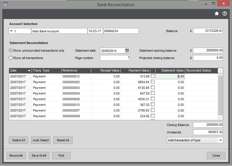 Bank Reconcilliation in Sage 200 Screenshot