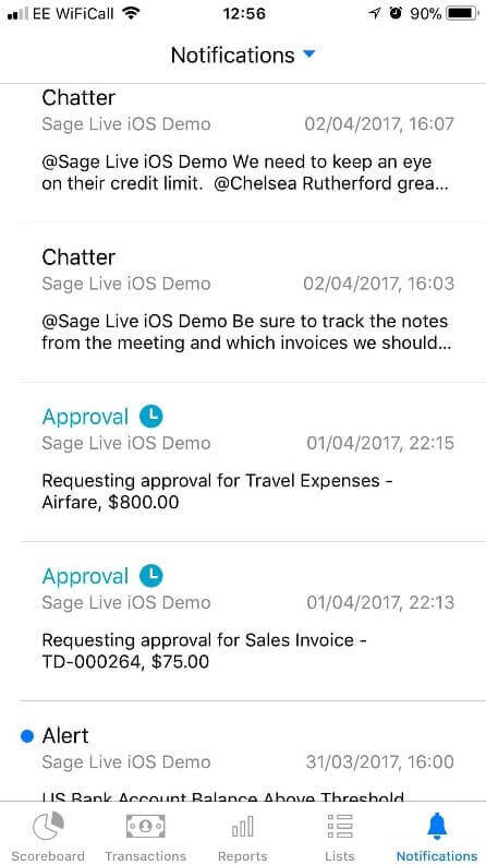 Sage Live App Notifications Feature