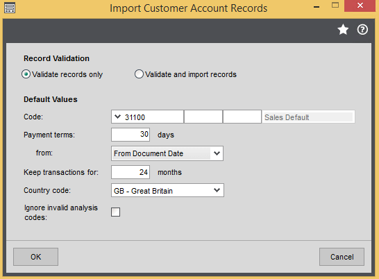 Sage 200 Import Customers Form