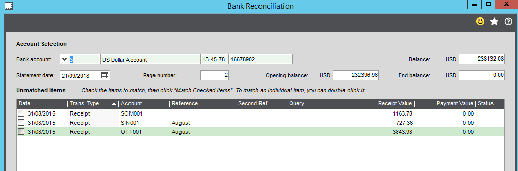 Bank Reconciliation Screen