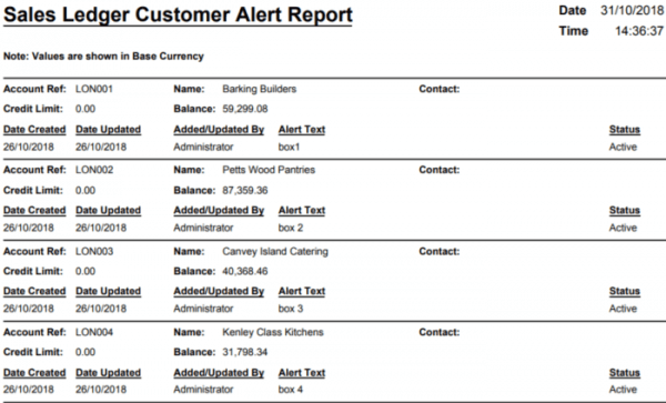 November Report of the Month– Sales Ledger Customer Alert Report