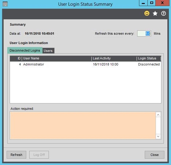 User Login Status Summary