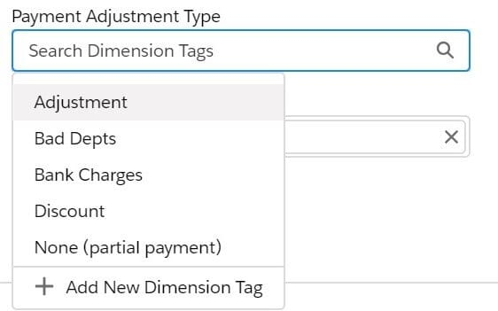 Payment Adjustment Type Sage Financials Bank Reconciliation