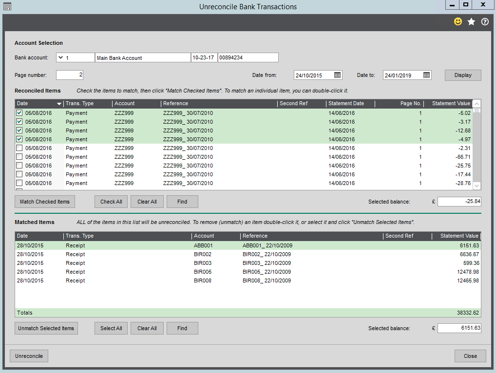 Unreconcile Bank Transactions in Sage 200 Screenshot
