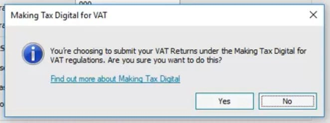Sage 50cloud Making Tax Digital for VAT Prompt
