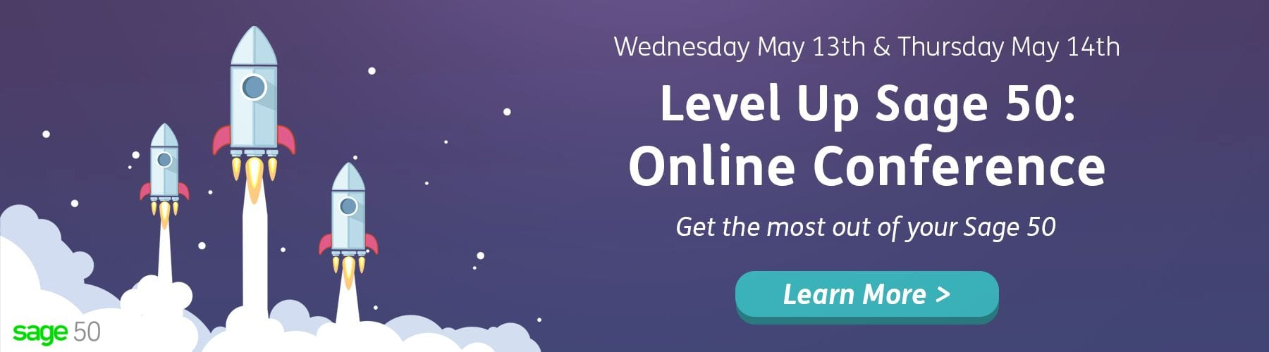 Level Up Sage 50 Online Conference - Get more out of your Sage 50 event